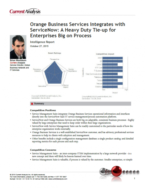 Orange Business Services Integrates with ServiceNow