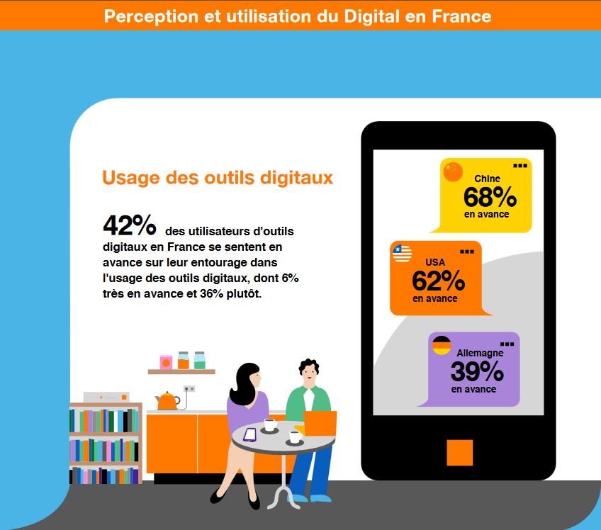 Infographie - Perception et utilisation des usages numériques en France